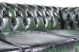 Chesterfield Zetel Original Leer | 4-zits | Antiek Groen | 12 jaar garantie_