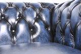 Chesterfield Zetel Original Leer   1 + 1 + 3 zits   Antiek Blauw  12 jaar garantie_