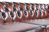 Chesterfield Zetel Original Leer   1 + 1 + 3 zits   Antiek Bruin  12 jaar garantie_