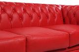Chesterfield Zetel Original Leer | 1 + 1 + 3 zits | Rood| 12 jaar garantie_