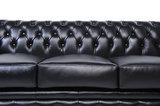 Chesterfield Zetel Original Leer | 2 + 3 zits | Zwart| 12 jaar garantie_