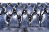 Chesterfield Zetel Original Leer | 1 + 2 zits | Antiek Blauw| 12 jaar garantie_