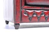Chesterfield Zetel Original Leer   1 + 2 + 3 zits   Antiek Rood  12 jaar garantie_