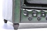 Chesterfield Zetel Original Leer   1 + 2 + 3 zits   Antiek Groen  12 jaar garantie_