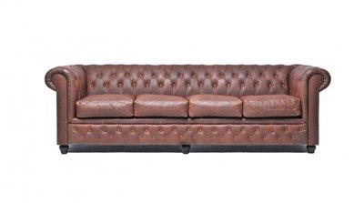 Chesterfield Zetel Vintage Leer | 4-zit | Bruin | 12 jaar garantie