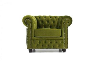 Chesterfield Fauteuil Original Fluweel | Groen | 12 jaar garantie