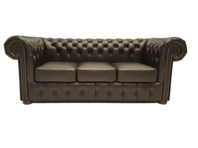 Chesterfield Bank Class Leer | 3-zits | Shiny Black | 5 jaar garantie