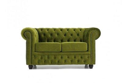 Chesterfield Stof 2-zits zetel Fluweel Groen