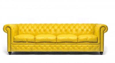 Chesterfield Zetel Original Leer   4-zits   Geel   12 jaar garantie