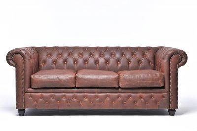 Chesterfield Zetel Vintage Leer | 3-zit | Bruin | 12 jaar garantie