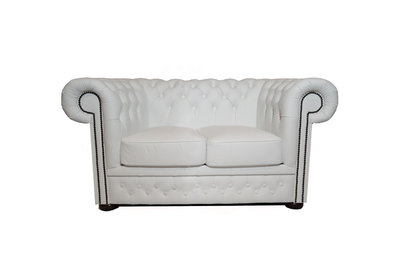 Chesterfield Zetel First Class Leer | 2-zits | White| 12 jaar garantie