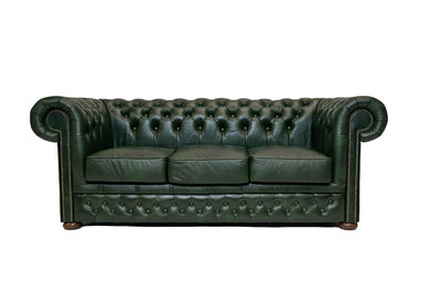 Chesterfield Zetel First Class Leer | 3-zits | Cloudy Green| 12 jaar garantie