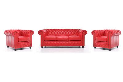 Chesterfield Zetel Original Leer | 1 + 1 + 3 zits | Rood| 12 jaar garantie