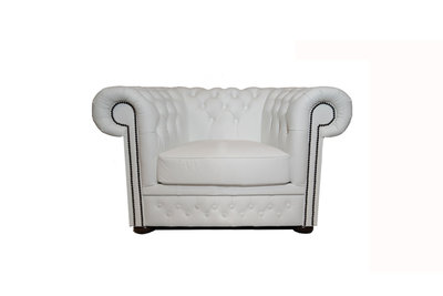 Chesterfield Fauteuil First Class Leer | Wit | 12 jaar garantie