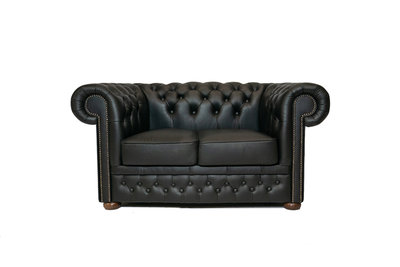 Chesterfield Zetel First Class Leer | 2-zits | Shiny Black| 12 jaar garantie